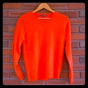 Bright Orange cable and gauge sweater